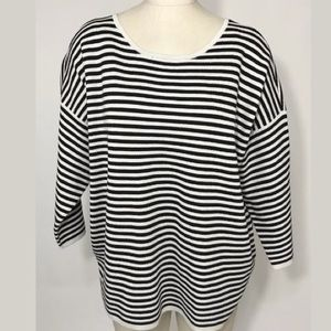 Eileen Fisher Sweater Silk Organic Cotton Stripe